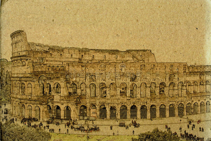 Download Rome Colosseum Vintage Illustration Stock Illustration - Illustration of european, attraction: 43175161