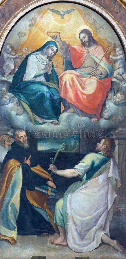 Rome - The Coronation of Virgin Mary paint from side chapel in church Chiesa di Santo Spirito in Sassia. By Cesare Nebbia (1512 - 1590 stock images