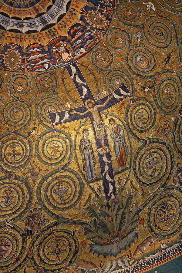 Rome - cross from San Clemente church. Rome - mosaic of Jesus on the cross from San Clemente church stock image