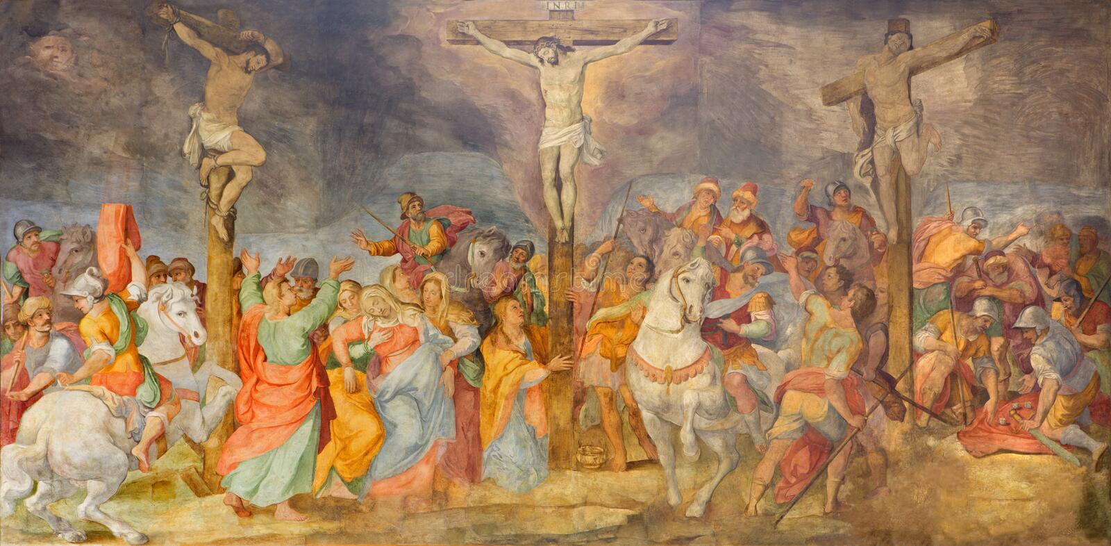 Rome - The Crucifixion fresco in church Chiesa San Marcello al Corso by G. B. Ricci (1613). royalty free stock image