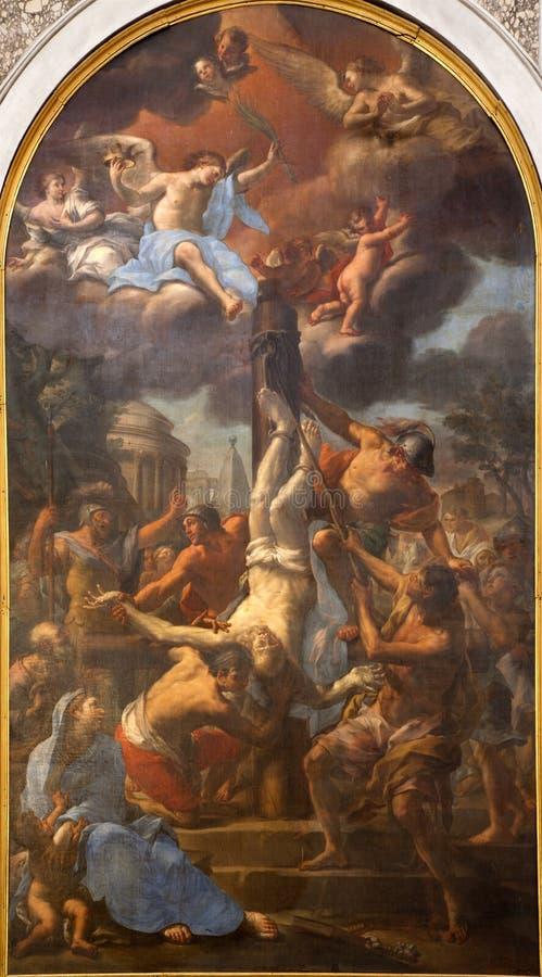 Rome - curcifixion van Peter - verf van Santa Mar royalty-vrije stock foto