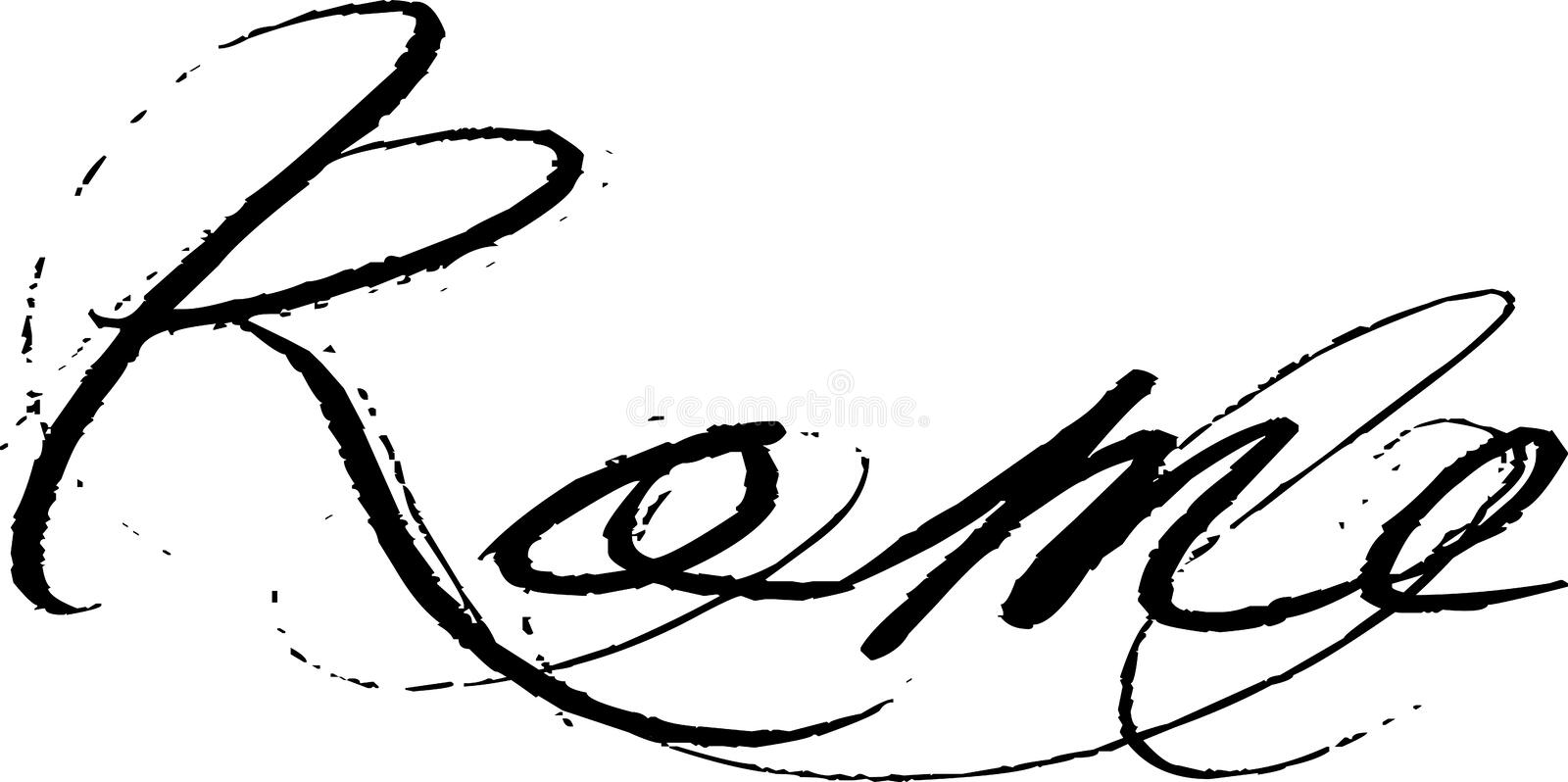 Rome in cursive writing. The word Rome written in stylish, cursive handwriting. Black and white ink stock illustration