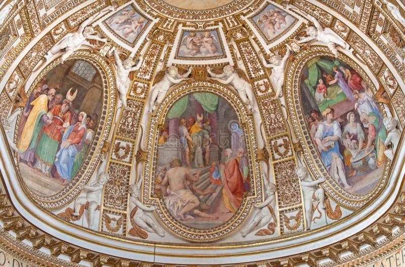 Rome - de belangrijkste apsis met de fresko's van het leven van Maagdelijke Mary in Di Santa Maria ai Monti van kerkchiesa royalty-vrije stock fotografie