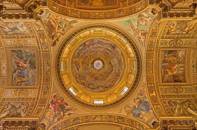 Rome - de fresko in de koepel van kerk Basilica Di Sant Andrea della Valle royalty-vrije stock afbeelding