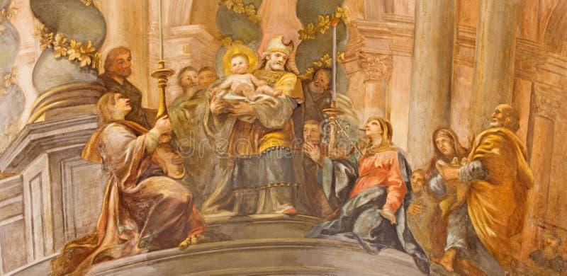 Rome - de fresko de Presentatie van Christus in de Tempel in kant cahpel van kerk Chiesa San Marcello al Corso stock afbeelding