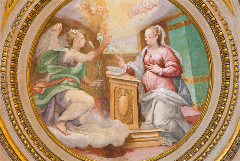 Rome - de fresko van Aankondiging in apsis van zijkapel van st Joseph (1587 - 1588) door A Nucci in Basilica Di Sant Agostino royalty-vrije stock afbeelding