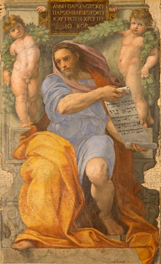 Rome - de fresko van helderziendeisaiah in Basilica Di Sant Agostino (Augustine) tegen Raffaello vormjaar 1512 stock fotografie