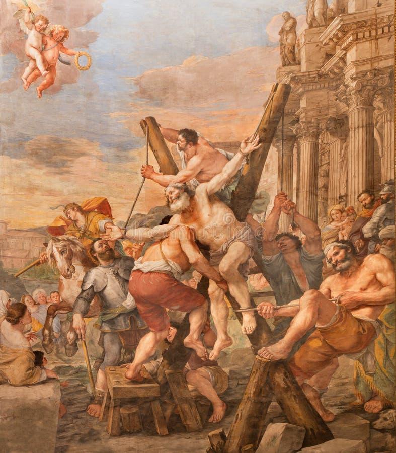 Rome - de Kruisiging van st Andrew de apostel in kerk Basilica Di Sant Andrea della Valle door Mattia Preti royalty-vrije stock fotografie