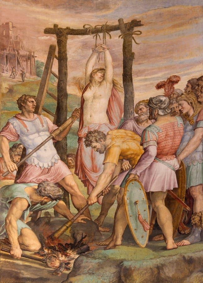 Rome - de martyriumofst Barbara fresko door Michiel Coxie in dell Anima van kerksanta maria stock fotografie