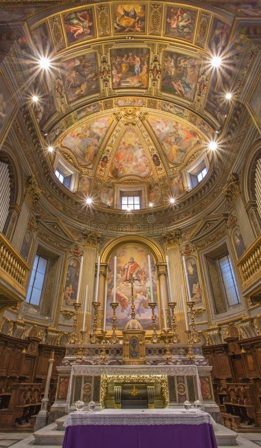 Rome - de pastorie van kerk Chiesa San Marcello al Corso met fresko door Francesco Salviati (1563) royalty-vrije stock foto