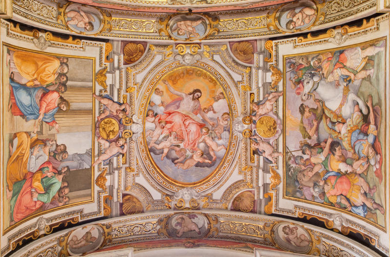 Rome - de plafondfresko door G B Ricci frokm 16 cent in Di Santa Maria van kerkchiesa in Transpontina stock fotografie