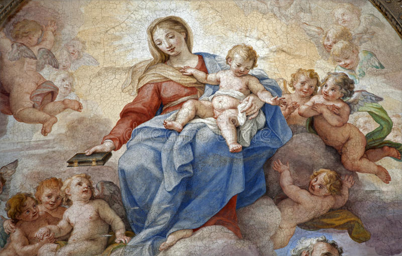 Rome - detail of holy Mary paint. From Santa Maria degli Angeli basilica stock images