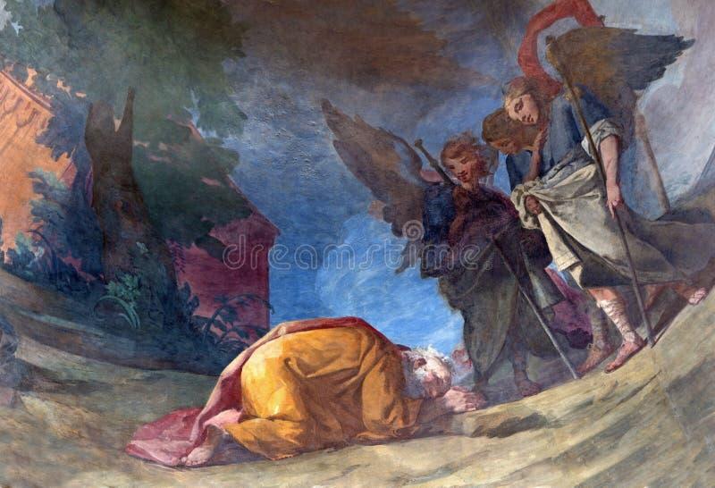 Rome - Drie engelen die de fresko van Abraham door Gonzalez Velazquez in apsis van Chiesa-degli Spanoli bezoeken van dellasantiss stock afbeelding