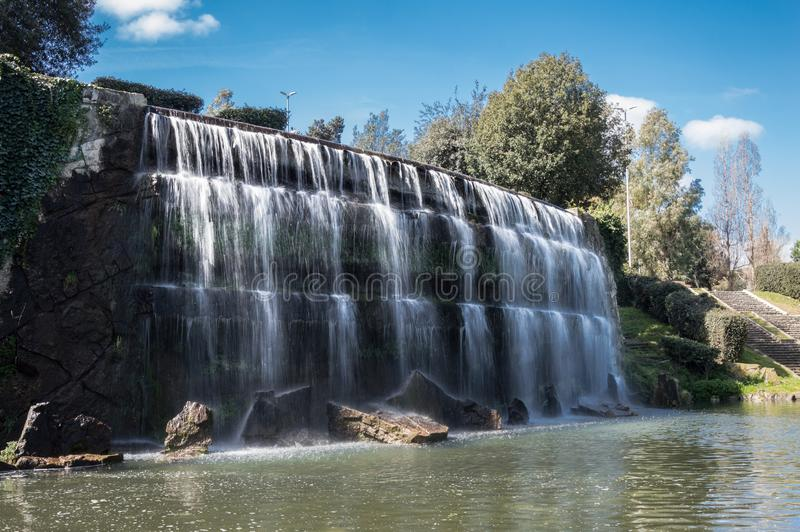Rome falls at EUR. Spring day. The falls in Eur lake, Rome, Italy. This is the quartier build by Mussolini stock image