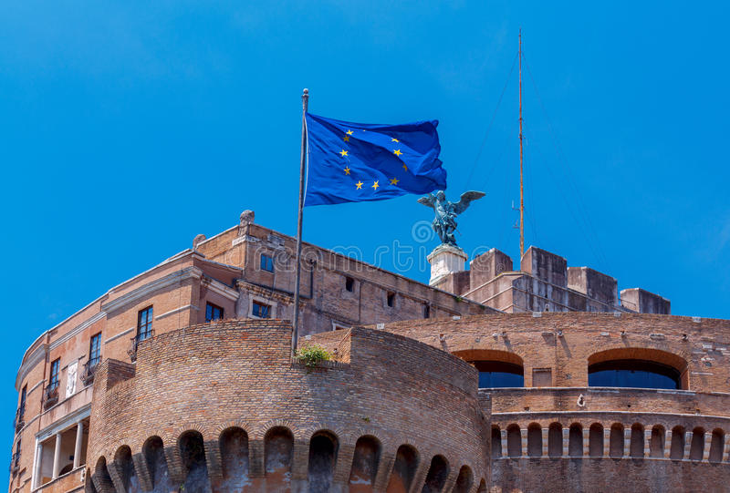 Rome. Flag of the European Union on the tower. Blue with the stars of the European Union flag on the fortress wall in Rome. Italy stock image