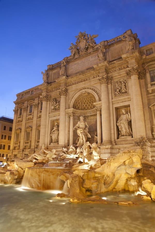 Rome - Fontana di Trevi. In evening stock images