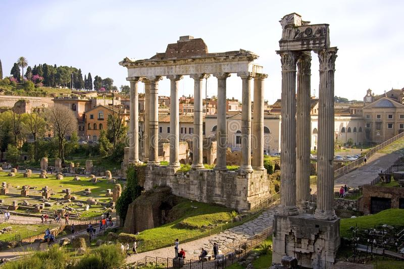 Rome the forum Romanum debris the ruins of the ancient royalty free stock image