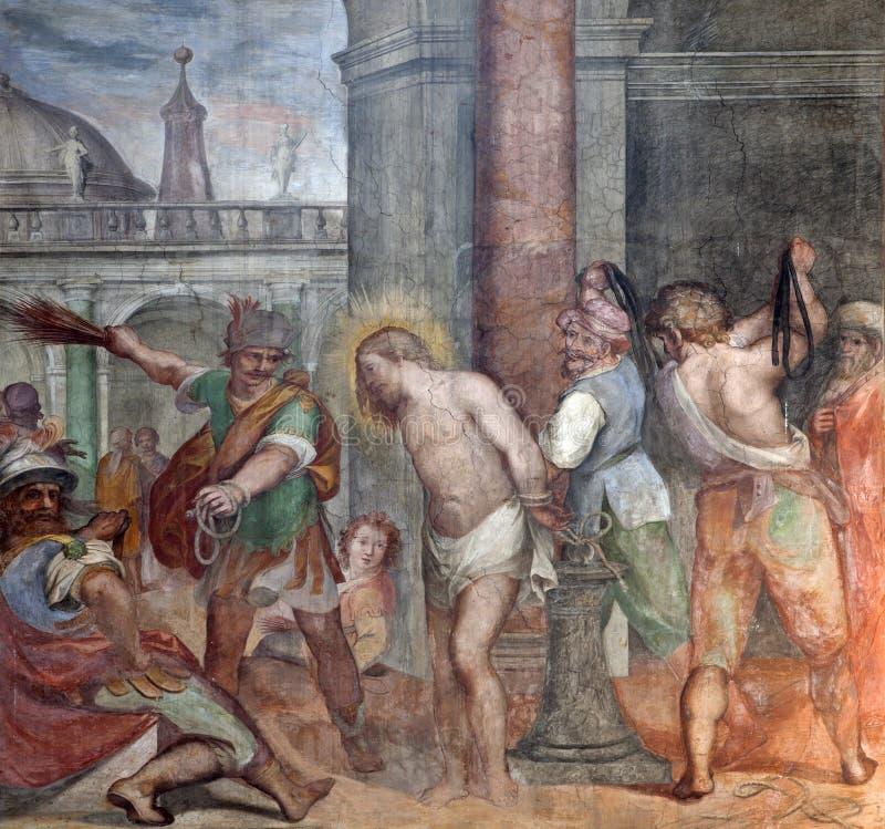 Rome - freco van Flagellatie van Christus stock foto's