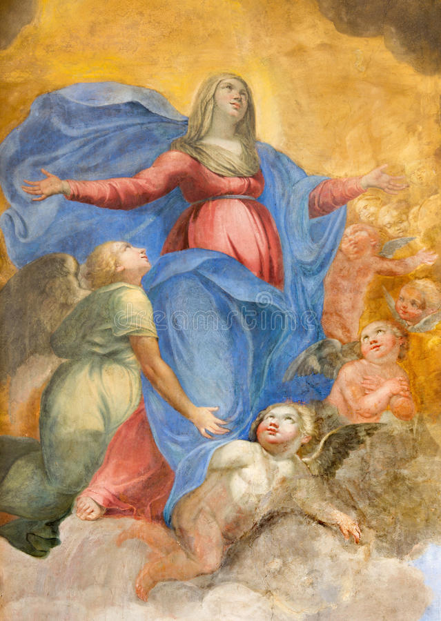 Rome - fresko van Onbevlekte Ontvangenis door Giuseppe Vasconio (vroeg 17 cent ) in Basilica Di Sant Agostino (Augustine) royalty-vrije stock fotografie