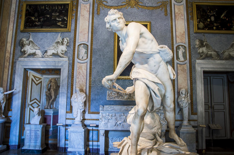 Rome, Galleria Borghese,David by Gian Lorenzo Bernini. Italy,Rome,Galleria Borghese,David is a life-size marble sculpture by Gian Lorenzo Bernini stock photo