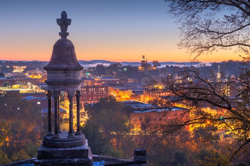 Rome, Georgia, USA Downtown Historic Cityscape. At twilight stock photography
