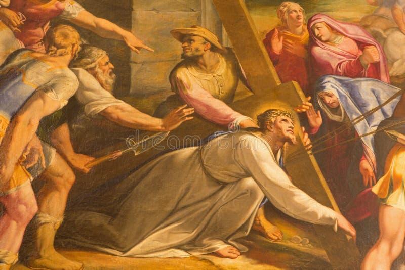 Rome - het detail van verf Christus valt onder het Kruis in kerk Chiesa del Jesu door Gaspare Celio (1571 - 1640) stock foto's