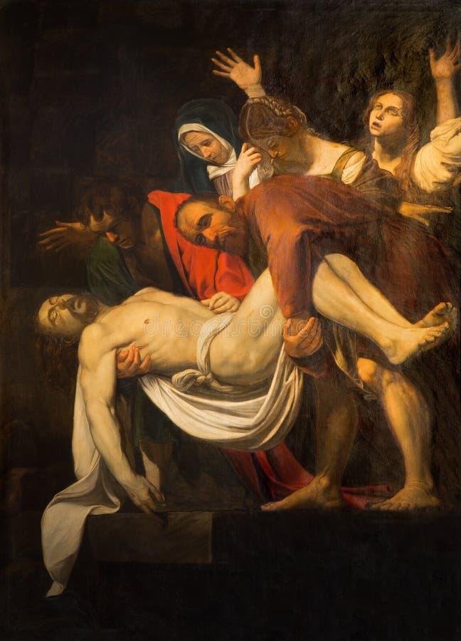 Rome - het Exemplaar van Deposito van het kruis door M Koch (1797) in kerk Santa Maria in Vallicella Origineel door Caravaggio royalty-vrije stock foto
