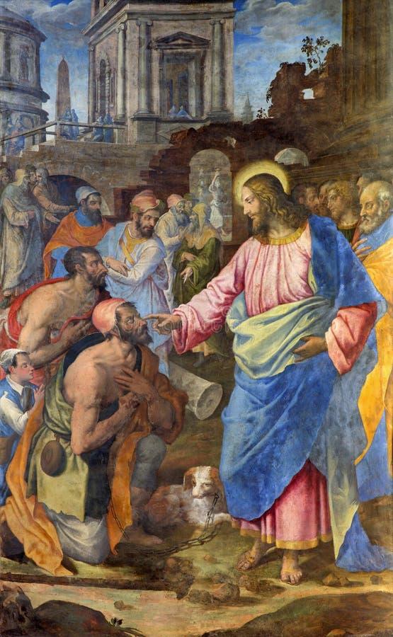 Rome - het helen van verlamde mensenfresko door Raffaele Gagliardi van 19 cent in kerk Santo Spirito in Sassia royalty-vrije stock foto's