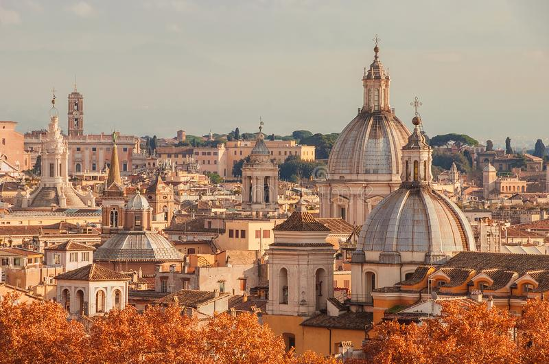 Rome autumn skyline royalty free stock images