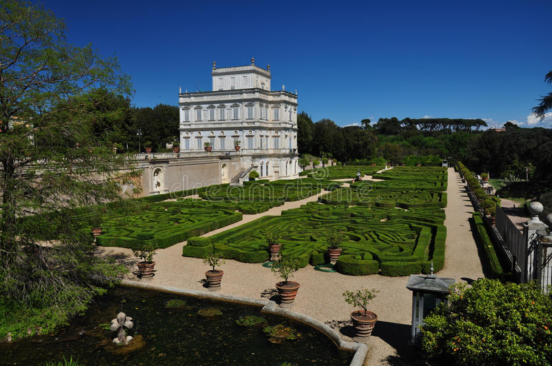 Rome, historic noble residence `Villa Doria Pamphili`. With beautiful garden, inserted in a very large public park royalty free stock image