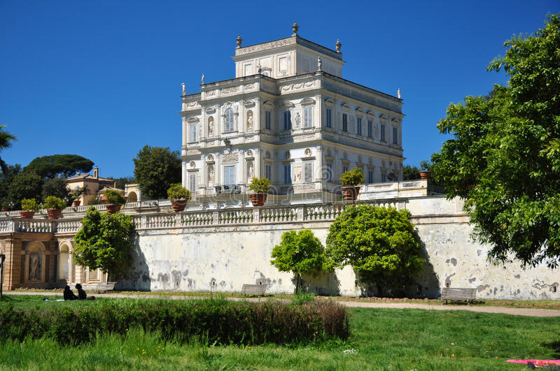 Rome, historic noble residence `Villa Doria Pamphili`. Rome, historic noble residence «Villa Doria Pamphili», inserted in a large public park, viewed by royalty free stock images