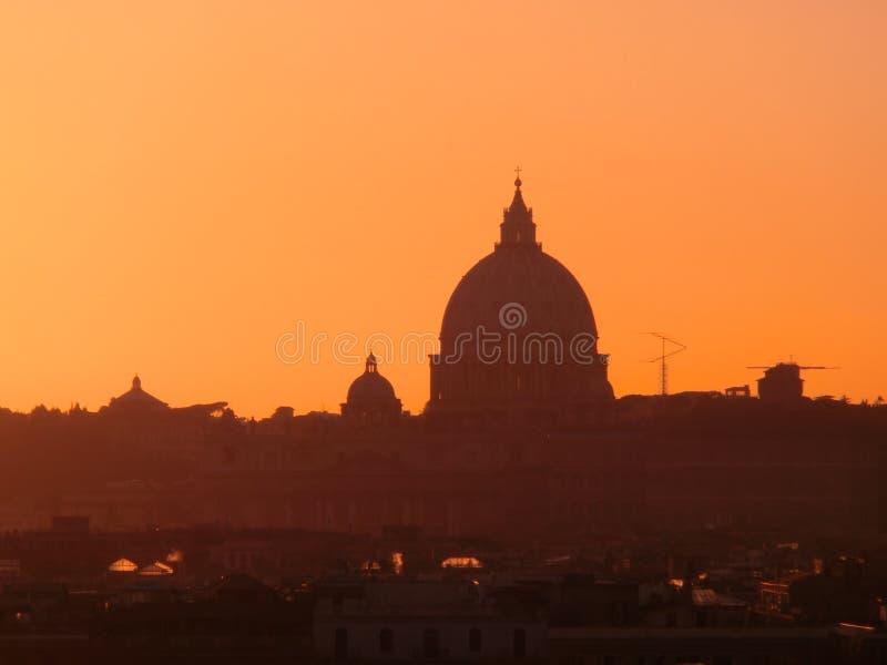 Rome horisont på solnedgången arkivfoton