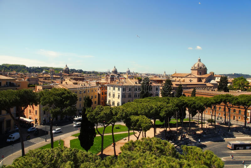 Rome, Italië - APRI 11, 2016: Mening van het balkon van natio royalty-vrije stock afbeeldingen