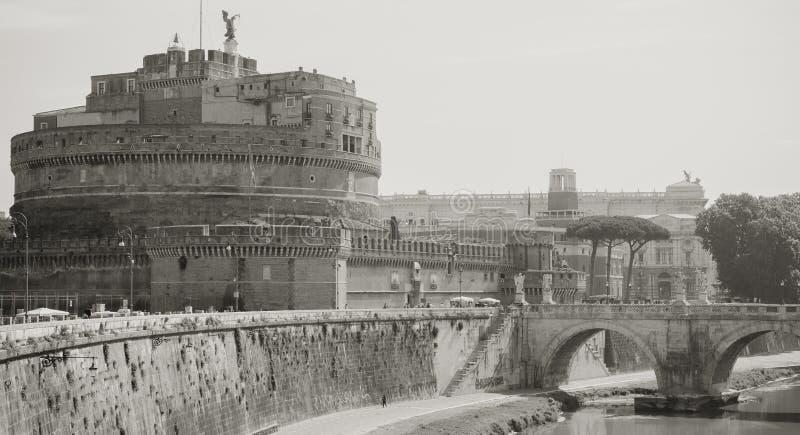 Rome Italië Castel Sant Angelo en Tiber-rivier royalty-vrije stock fotografie
