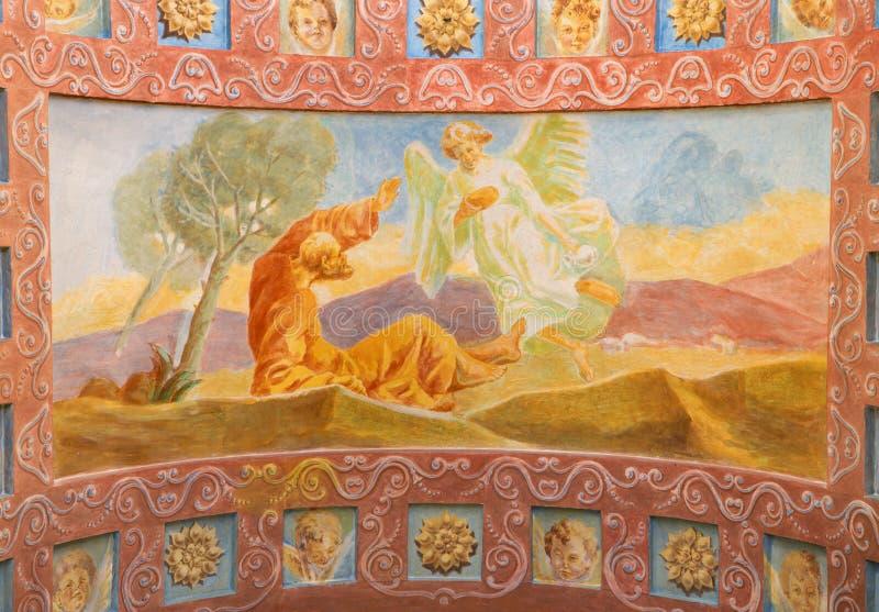 ROME, ITALIË: Fresko de Helderziende Elijah Receiving Bread en Water van een Engel in Di Santa Maria Ausiliatrice van de kerkbasi royalty-vrije stock fotografie