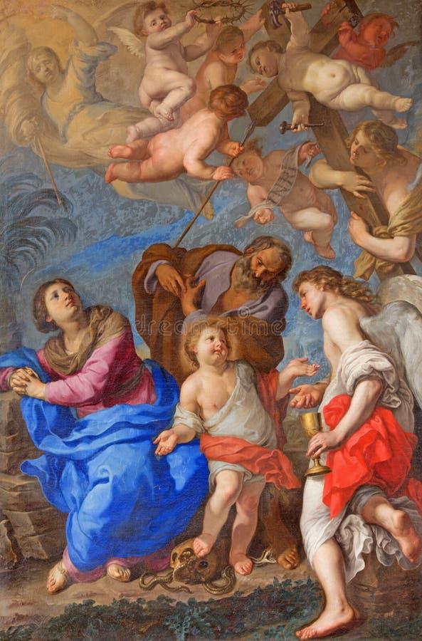 ROME, ITALIË: Heilige Familie met engelen en symbolen van de hartstocht in dwarsschip van Di Santa Maria del Popolo van de kerkba royalty-vrije stock foto's
