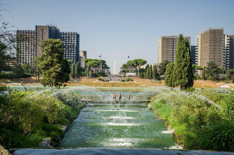 ROME, ITALIË - JULI 2017: Cascadestuin van de Watervallen van fonteinen in Rome, Italië stock afbeelding