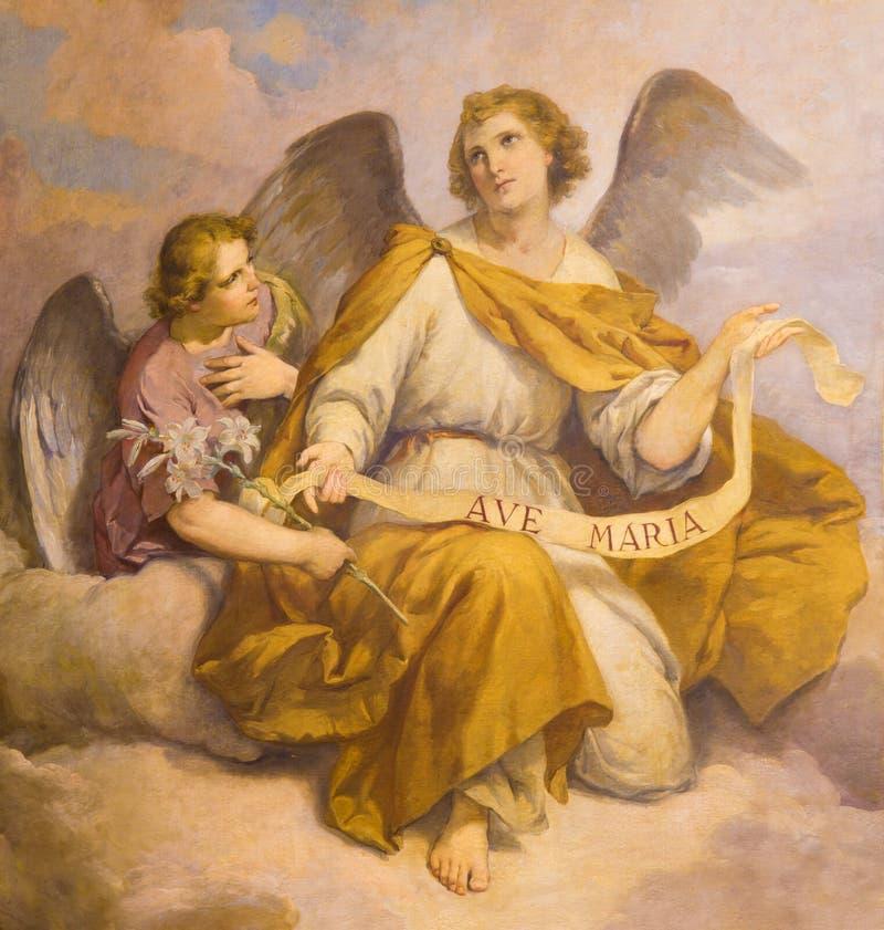 ROME, ITALIË - MAART 9, 2016: De fresko van engelen in Di Santa Maria van kerkchiesa in Aquiro & x28; Onze Dame van Lourdes chape royalty-vrije stock fotografie
