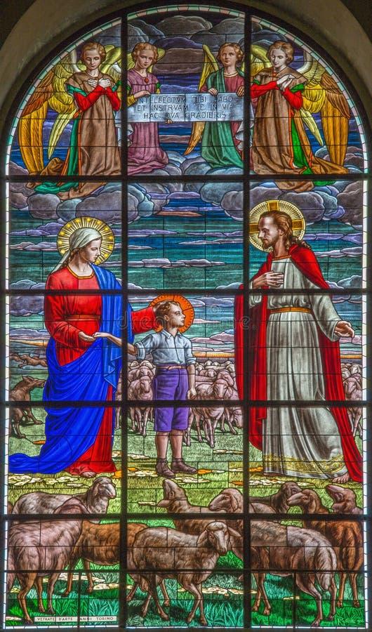 ROME, ITALIË - MAART 10, 2016: De scène van de droom od Don Bosco op de leeftijd van negen & x28; 1825& x29; royalty-vrije stock afbeelding