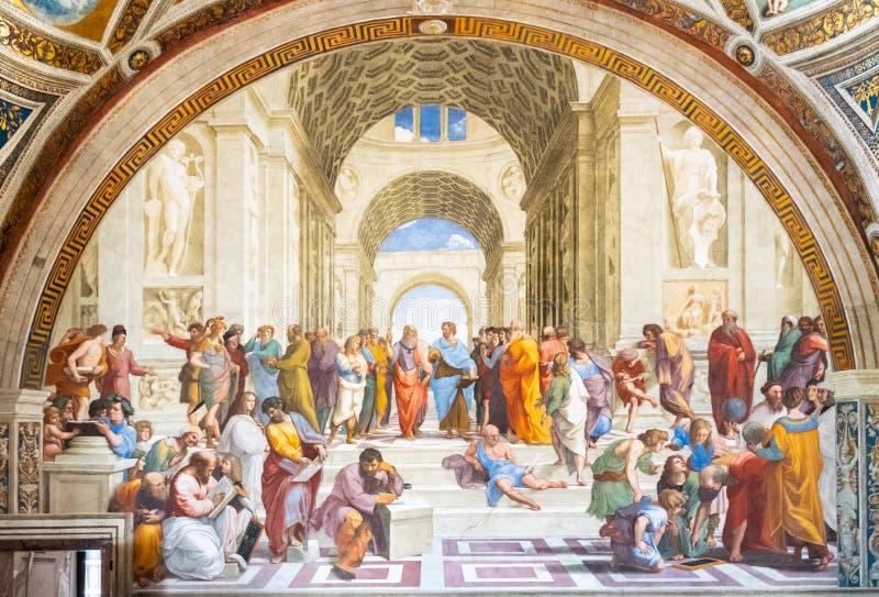 ROME, ITALIË - MEI 07, 2019: School van het schilderen van Athene door Raphael, de Musea van Vatikaan, de Stad van Vatikaan stock foto