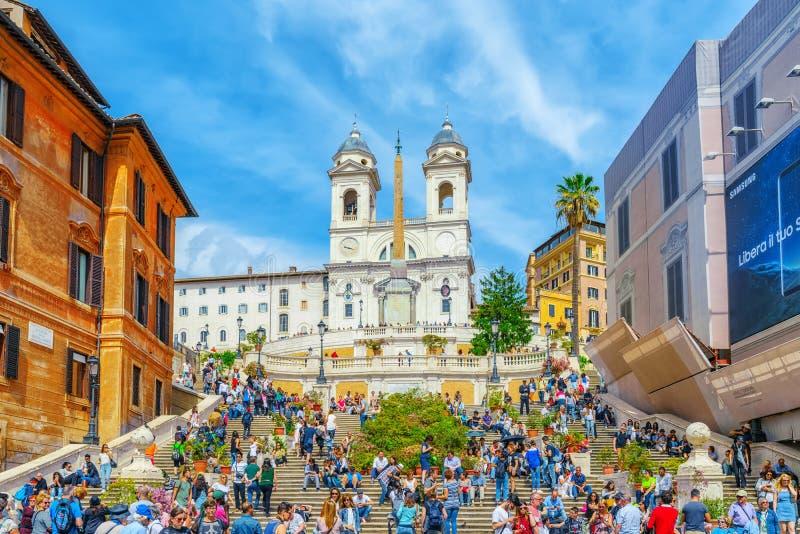 ROME, ITALIË - MEI 10, 2017: Spaanse Steps Scalinata Di Trinita stock foto