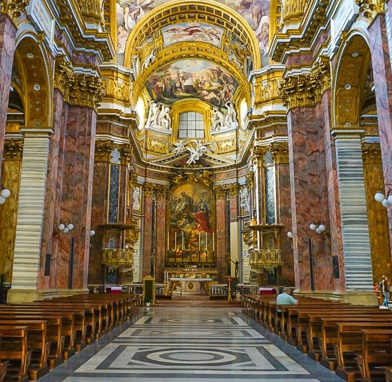 ROME, ITALIË - OKTOBER 12, 2017: Sant ` Ambrogio e Carlo al Corso stock foto