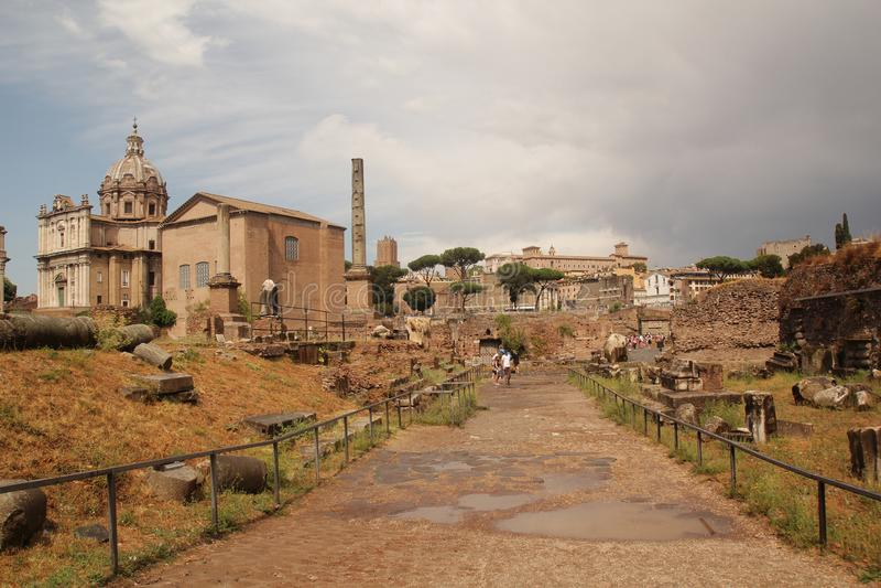 Rome, Italië - September 1,2017: De mooie Curia historische bouw van Julia binnen Colosseum royalty-vrije stock foto's