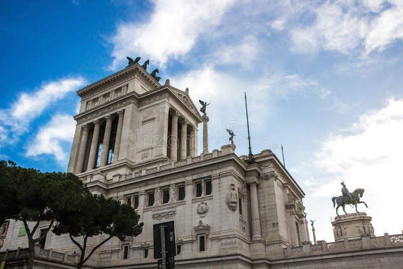 Rome, Italië - September 12, 2017: Nationaal Monument aan Victor Emmanuel II in Rome Ponte Vittorio Emanuele II stock afbeelding