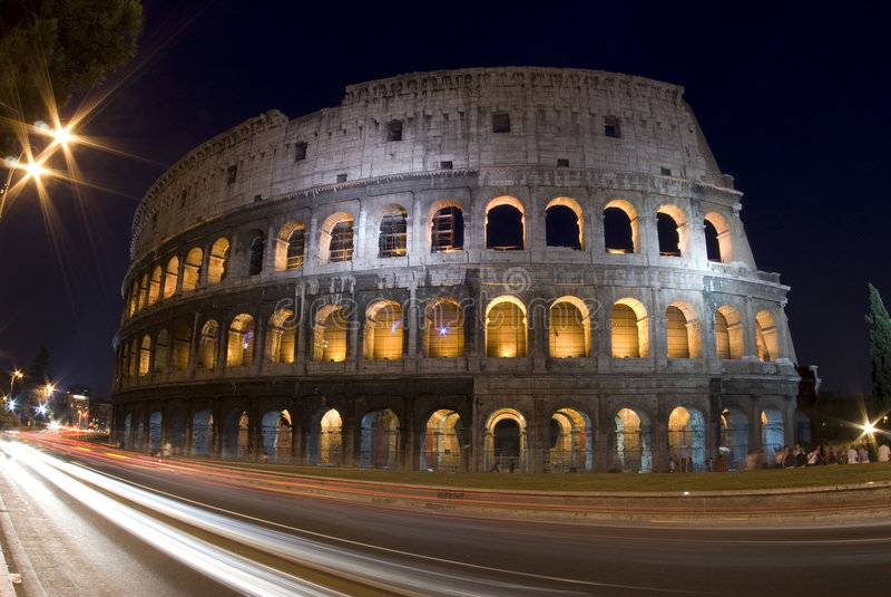 Rome Italië van Colosseum nacht royalty-vrije stock foto