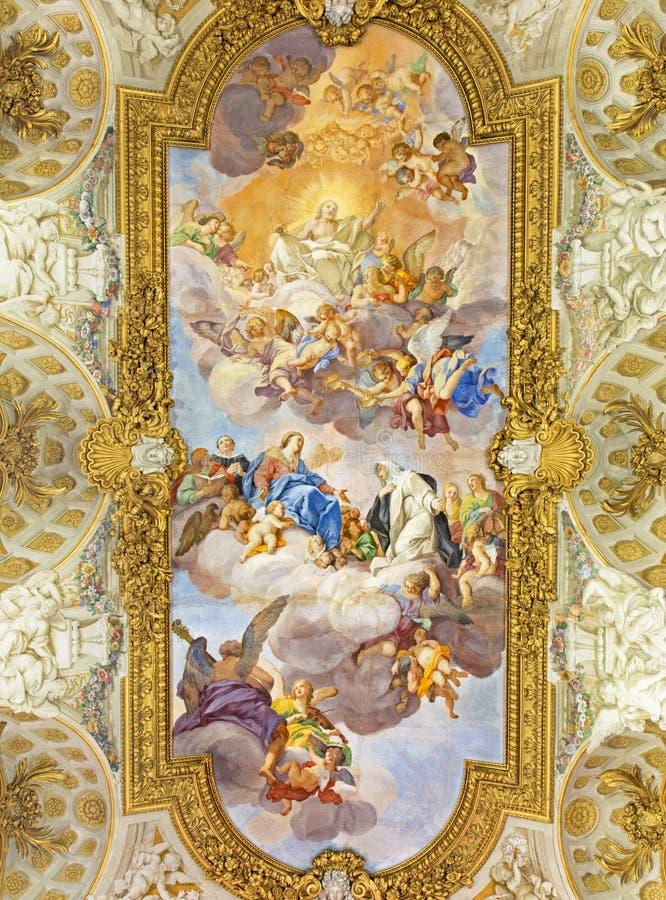 ROME, ITALIE : Fresque d'apothéose de St Catherine en Di Santa Caterina da Siena de Chiesa d'église un Magnapoli par Luigi Garzi  photo stock