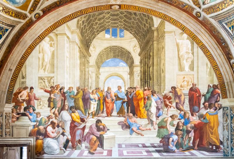 ROME, ITALIE - 7 MAI 2019 : École de la peinture d'Athènes par Raphael, musées de Vatican, Ville du Vatican photo stock