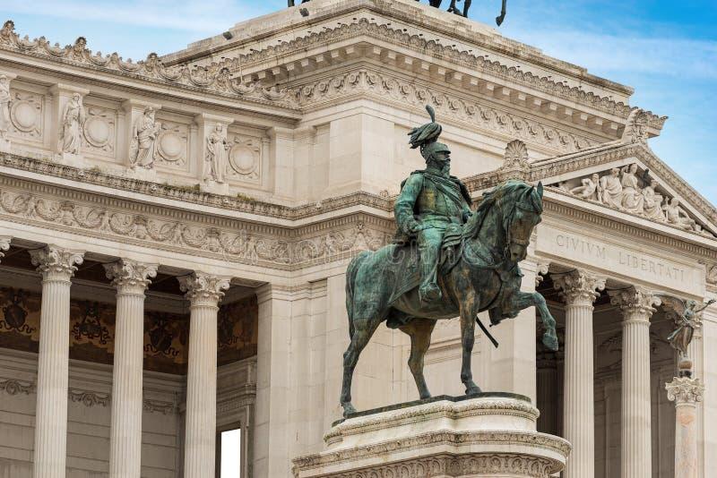 Rome Italien - Altare della Patria och monument av Vittorio Emanuele II arkivfoto