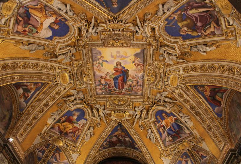 Rome Italien - December 30, 2018: Basilikadi Santa Maria Maggiore i Rome, Italien Santa Maria Maggiore är en påvlig viktig basili arkivbild