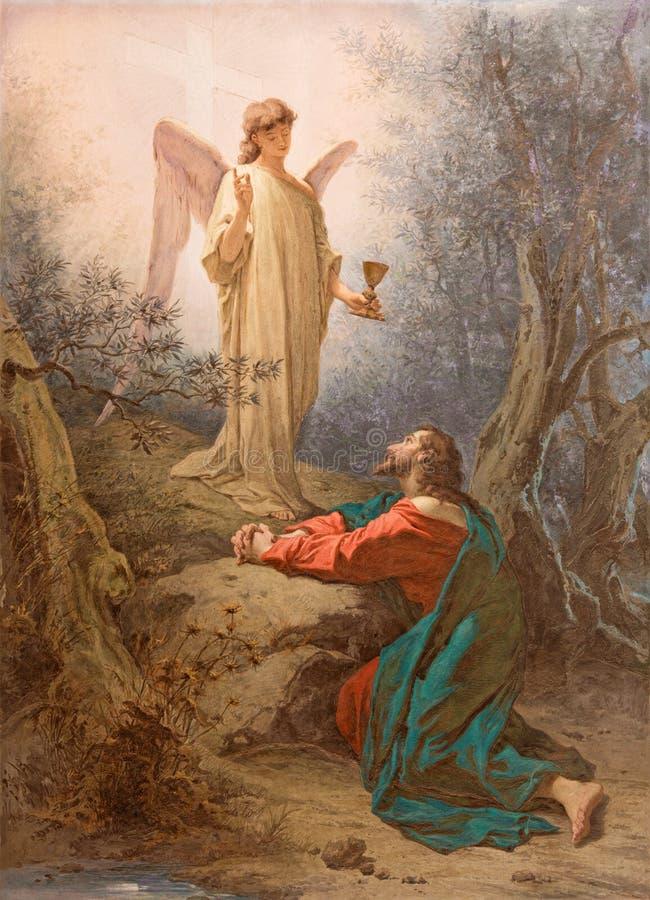 ROME ITALIEN: MålningKristus i trädgården av Gethsemane i kapell av St Paul av korset av basilikadi Santi Giovanni e Paolo arkivbild